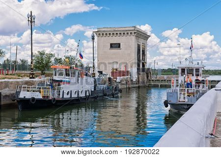 Two Small Repair Of The Ship Are Locking In The Waterlock Of The Dam A Navigable Channel