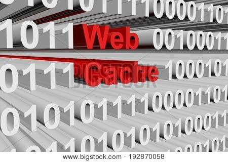 Web cache in the form of binary code, 3D illustration