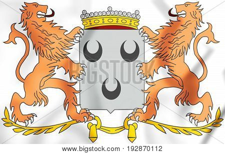3D Oosterhout Coat Of Arms (north Brabant), Netherlands.