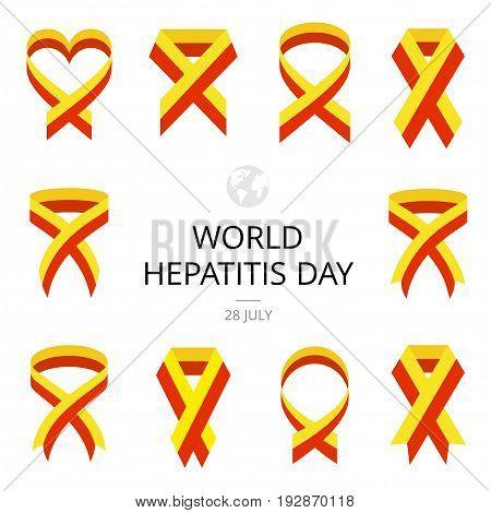 Illustration of World Hepatitis Day on white background. Ribbons.