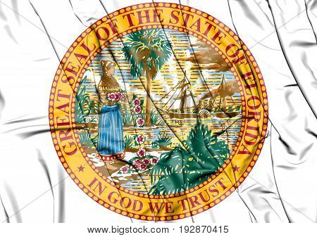 3D State Seal Of Florida, Usa.