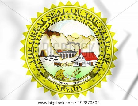 3D State Seal Of Nevada, Usa.