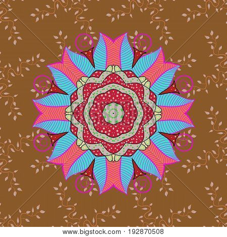 For wedding invitation book cover or flyer. Background with colored ornament mandala based on ancient greek and islamic ornaments.