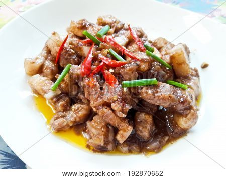 Stir-fried pork with shrimp paste Thai food