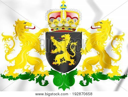 3D North Brabant Province Coat Of Arms, Netherlands.