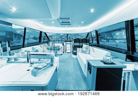 CANNES FRANCE - SEPTEMBER 9th 2015. Luxurious interior of a modern yacht. YACHTING FESTIVAL 2015 Cannes. Blue colored.
