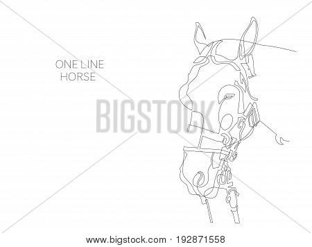 continuous one line horse drawing isolated on white background, minimalism style vector illustration