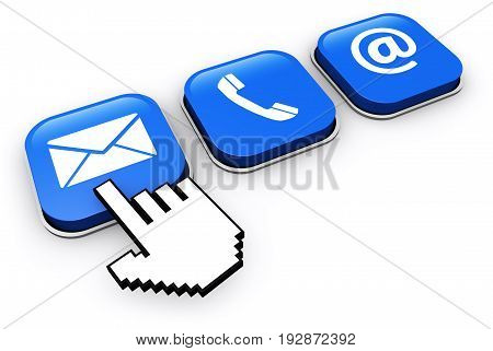 Website contact us buttons with email phone and at icon 3D illustration.