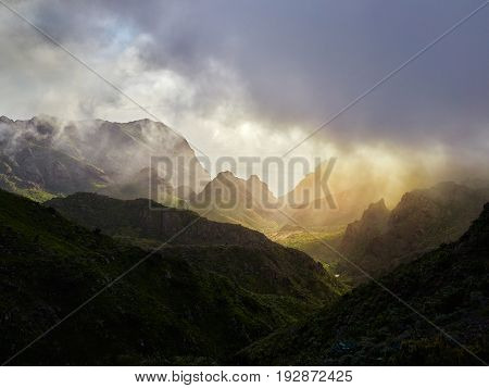 sunset over Carrizales canyon in Tenerife, Spain