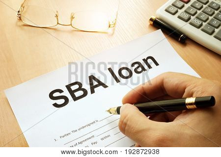 SBA loan form on a table. Business concept.