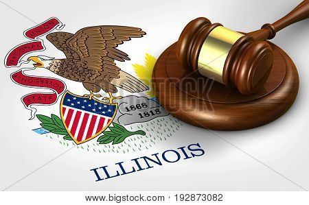 Illinois US state law legal system and justice concept with a 3D rendering of a gavel on Illinoisan flag.