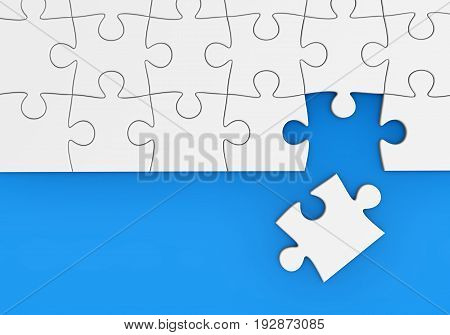 Last missing piece to complete the puzzle business solution and problem solving concept 3D illustration.