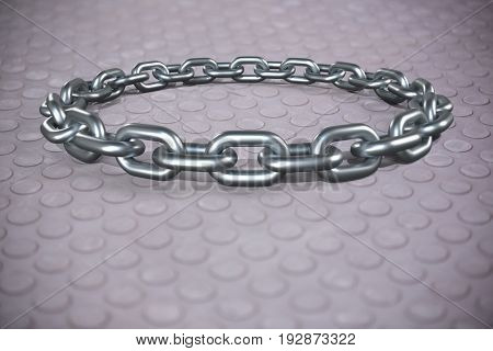 3d image of round silver chain against grey coloured heavy grip ground