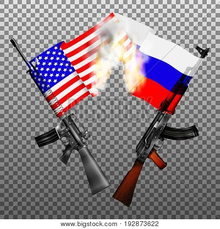Machine guns of the USA and Russia with national flags crossed in fire and smoke. Isolated objects.
