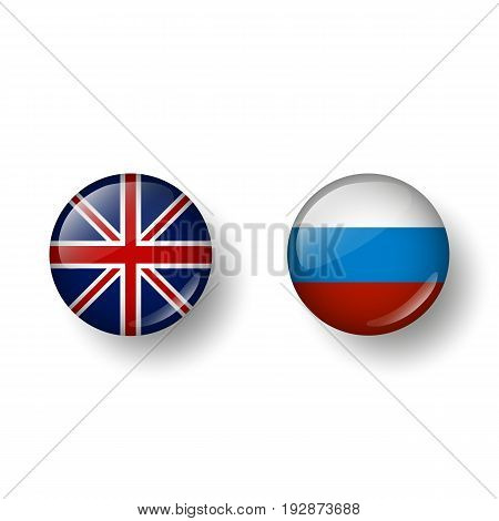 Languages English and Russian. In the form of balls with a shadow. Vector