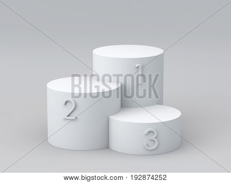Empty winners podium on white background. 3D rendering.
