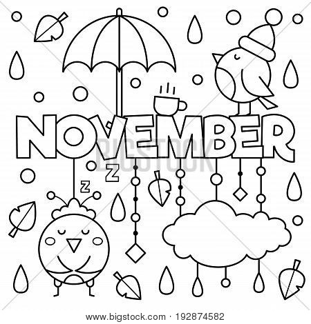 Black and white vector illustration. Coloring page. November
