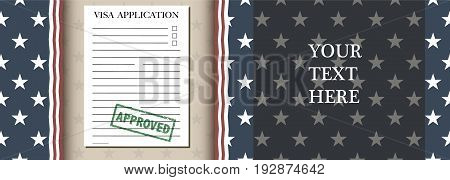 Visa Application Banner concept with paper and stamp