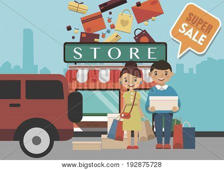 Shopping Day concept with people near store and isolated objects