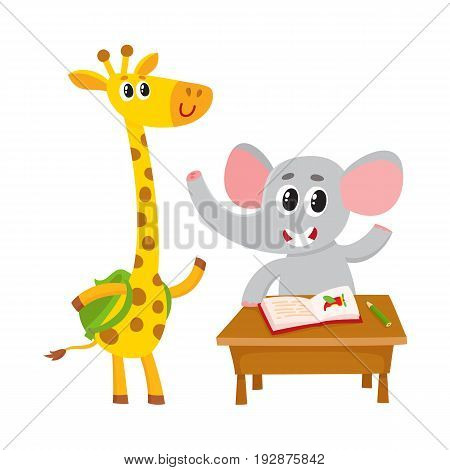 Cute animal students - elephant sitting at school desk, giraffe with backpack, cartoon vector illustration isolated on white background. Giraffe and elephant student characters, back to school concept