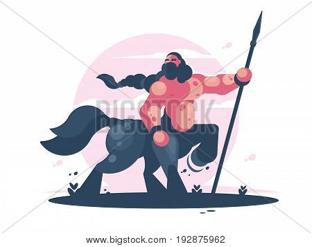 Courageous character centaur with spear. Man horse mythical creature. Vector illustration