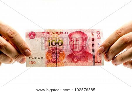 chinese yuan bank note on white background