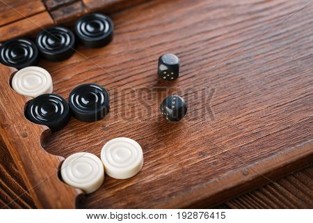 Backgammon. Game Field In A Backgammon With Cubes And Counters. Game Concept. Board Game. Hobby. Dic