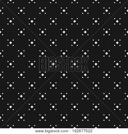 Polka Dot Pattern. Vector seamless texture with tiny circles in daggers grid. Simple abstract monochrome illustration. Dark dotted geometric background. Square design element for decor, digital, web. Seamless Pattern with Dots.