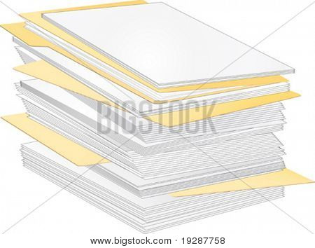 Stack of paper and folders
