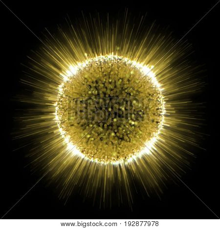 Golden shine of sun explosion background. Abstract gold rays flashing illustration with star dust particle texture.
