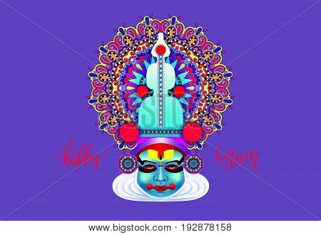 indian kathakali dancer face decorative modern vector illustration with hand lettering for happy onam holiday on violet
