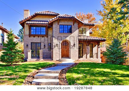 All brick, two story luxury home in Denver, Colorado, United States.