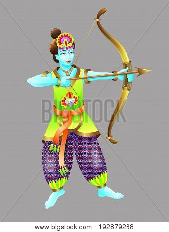 god of krishna shoots from a bow, vector illustration for an indian holiday dussehra