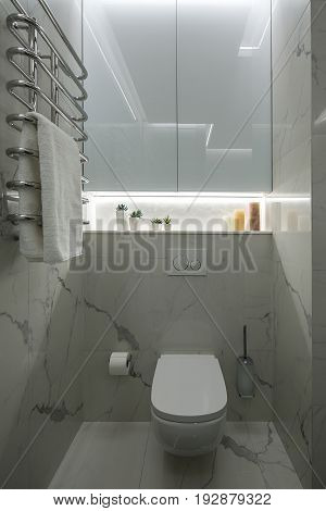 Restroom in a modern style with light tiled walls. There is a white toilet, toilet paper dispenser and a brush, backlighted niche with plants in the pots and candles, hanging chrome towel rack.