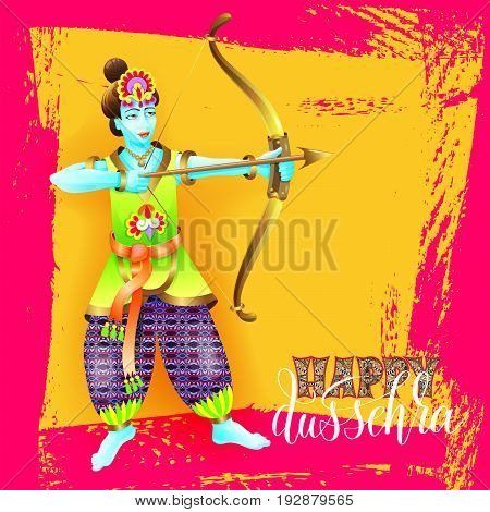 happy dussehra greeting card design with the god krishna shoots from the bow on brush stroke background to indian festival, vector illustration