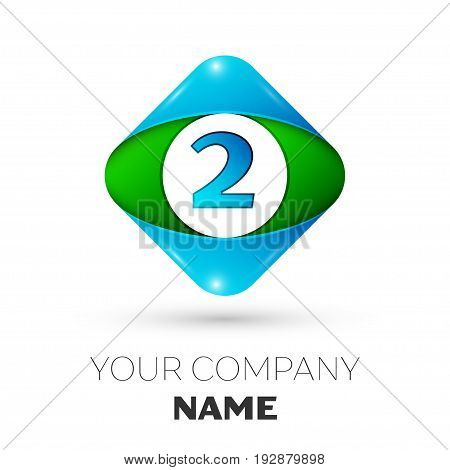 Realistic Number two vector logo symbol in the colorful rhombus on white background. Vector template for your design