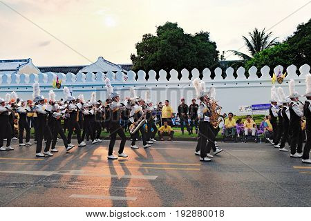 Bangkok, Thailand - December 5, 2015: The Royal Thai Army musicians during procession on celebrating of the King Rama 9 birthday at the walls of the Grand Palace, Bangkok, Thailand.