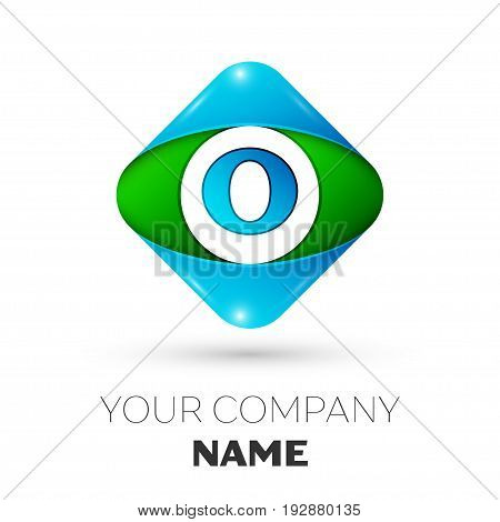 Realistic Letter O vector logo symbol in the colorful rhombus on white background. Vector template for your design