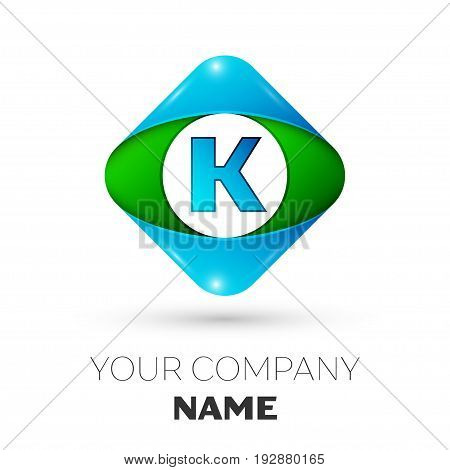 Realistic Letter K vector logo symbol in the colorful rhombus on white background. Vector template for your design