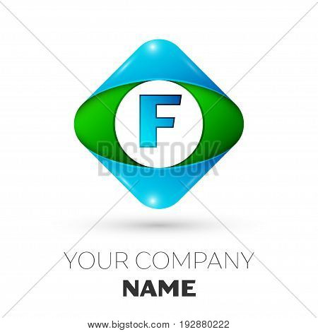 Realistic Letter F vector logo symbol in the colorful rhombus on white background. Vector template for your design