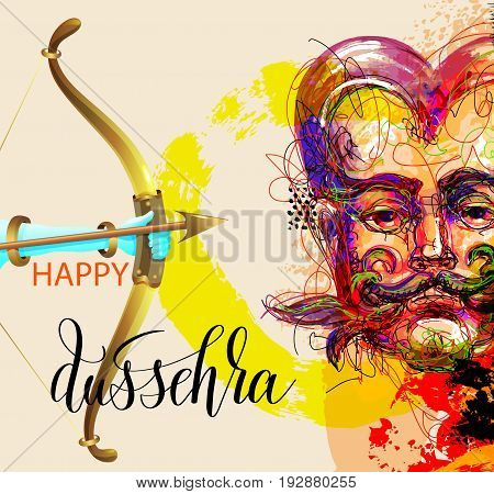happy dussehra poster design with a portrait of a demon who will be destroyed by the god krishna, abstract painting vector illustration