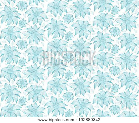 Seamless floral pattern. On a white background the blue flowers of edelweiss, water lily, lotus. For greeting cards, invitations, textiles, clothes, wrapping paper, paperhanging, interior design of room.