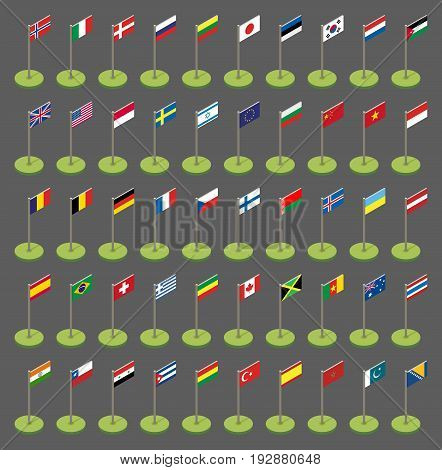 Isometric Flags Icons In Flat Style. Simple Flags Of The Countries