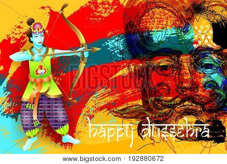 happy dussehra poster design of god krishna shoots an arrow from a bow in a demon on brush stroke abstract background and hand lettering inscription, vector illustration