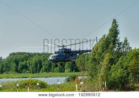 Russian Military Helicopter Mi-8 At Small Height