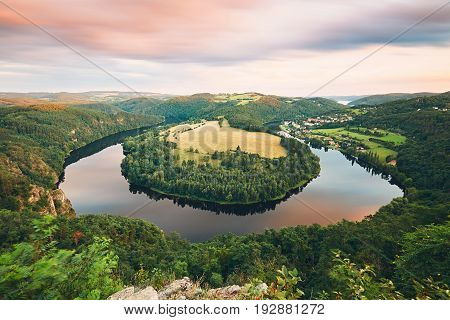 Amazing landscape with river at the sunset. Vltava river Central Bohemia region Czech Republic