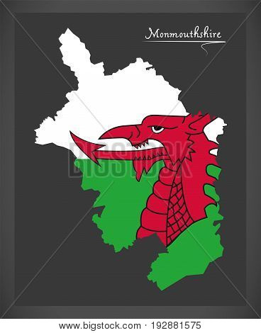 Monmouthshire Wales Map With Welsh National Flag Illustration
