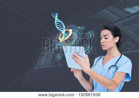 Digital composite of Medical models with DNA graphics or backgrounds