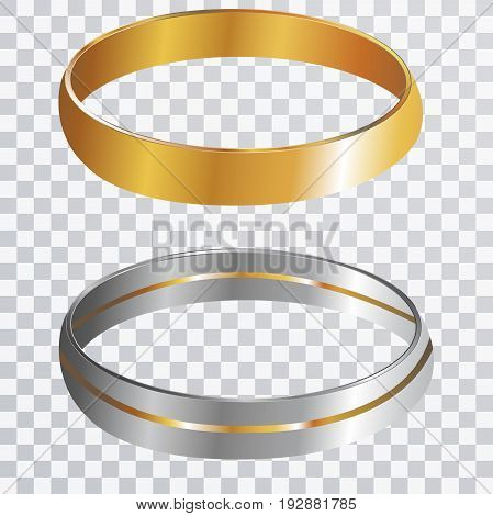 Wedding Rings on transparent paper vector concept