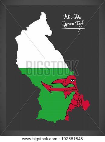 Rhondda Cynon Taf Wales Map With Welsh National Flag Illustration